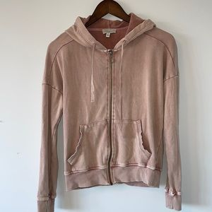 Lucky Brand distressed pink zip up hoodie size small